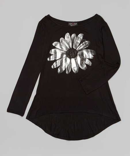 Black & Silver Metallic Daisy Tunic