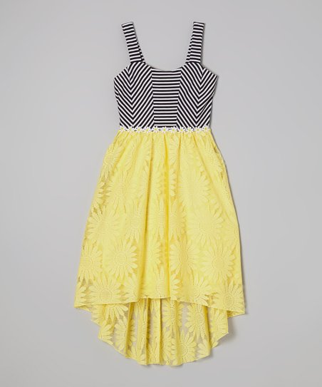 White & Yellow Stripe Daisy Hi-Low Dress