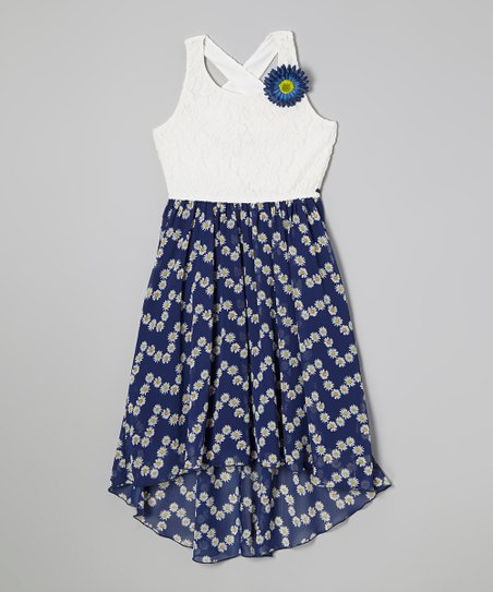 White & Blue Lace Rosette Dress