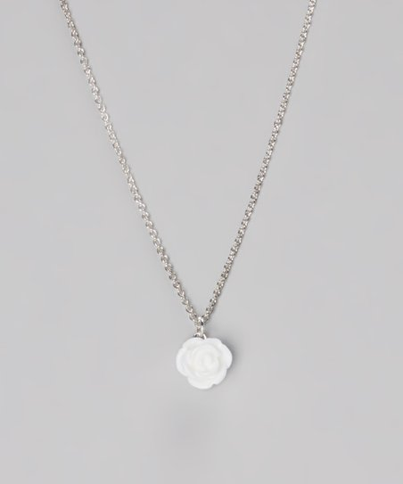 White Tiny Rose Necklace