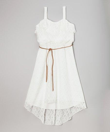 White Lace Ruffle Hi-Low Dress