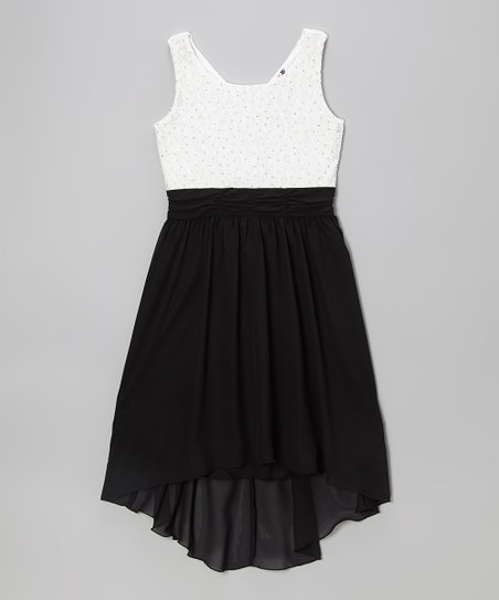Black & White Glitter Lace Hi-Low Dress
