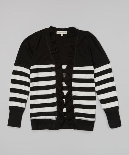 Black & White Heather Stripe Ruffle Open Cardigan