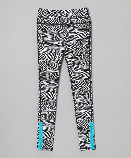 Black & White Zebra Leggings - Girls