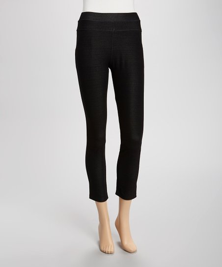 Black Rhinestone Pocket Jeggings - Women