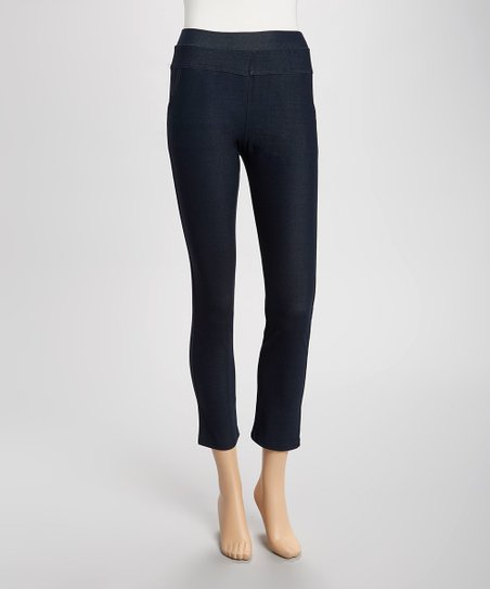 Navy Rhinestone Pocket Jeggings - Women