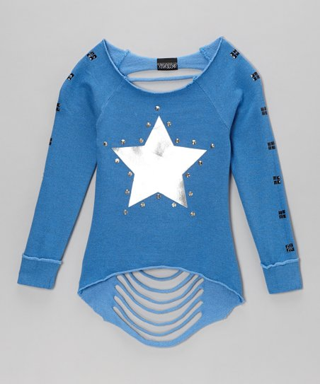 Blue Star Long-Sleeve Slash-Back Tee