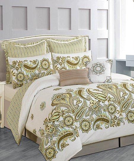 Taupe Paisley Comforter Set