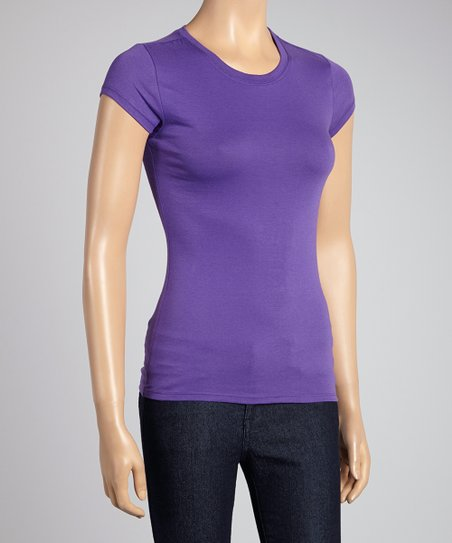 Purple Cap-Sleeve Tee