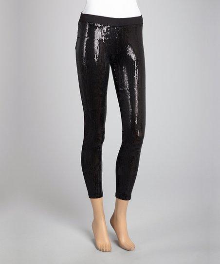 Black Sequin Ponte Pants