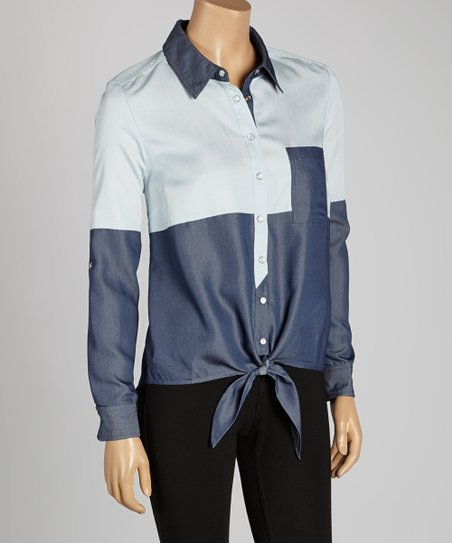 Blue Color Block Tie-Front Button-Up
