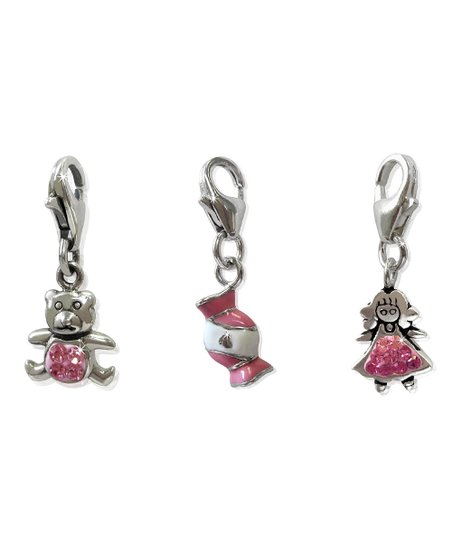 Pink & Sterling Silver Teddy Bear Charm Set