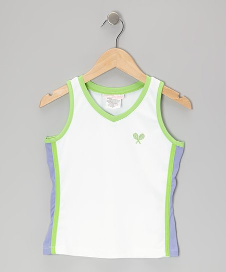 White & Green Tennis Tank - Girls