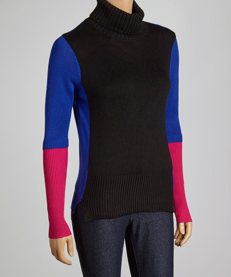 Blue & Pink Color Block Turtleneck Sweater