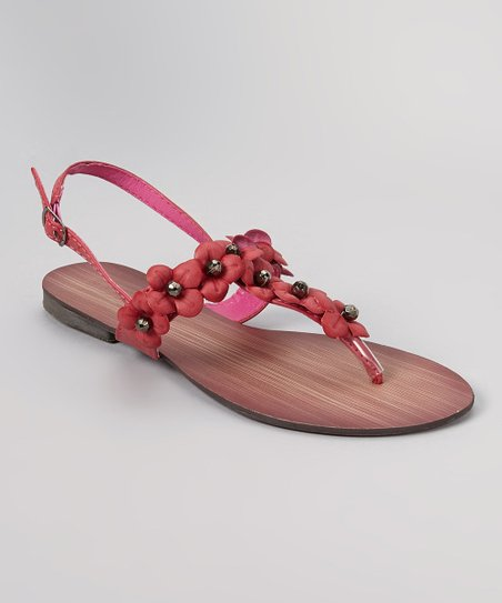 Fuchsia Bead Flower Sandal