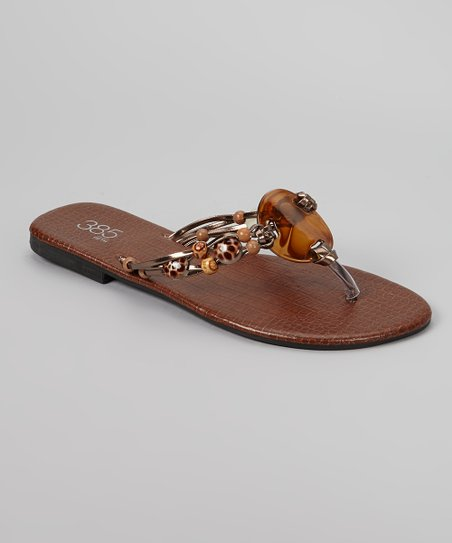 Brown Tortoise Bead Flip-Flop