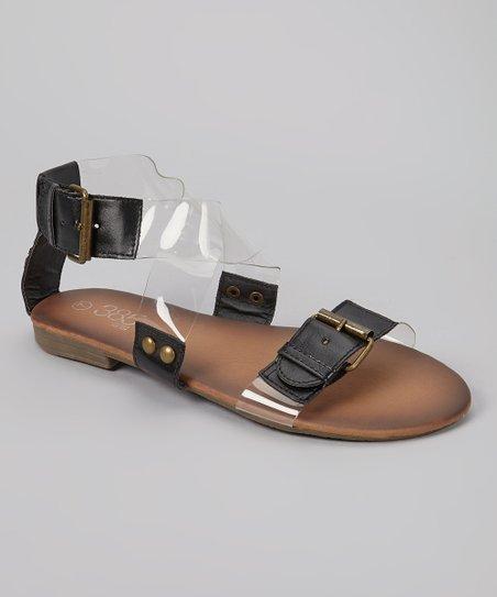 Black & Clear Buckle Sandal