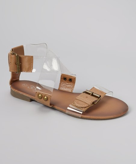 Brown & Clear Buckle Sandal