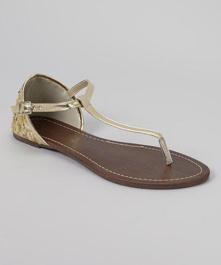 Gold Patent Sequin Sandal