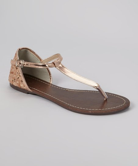 Rose Gold Patent Sequin Sandal