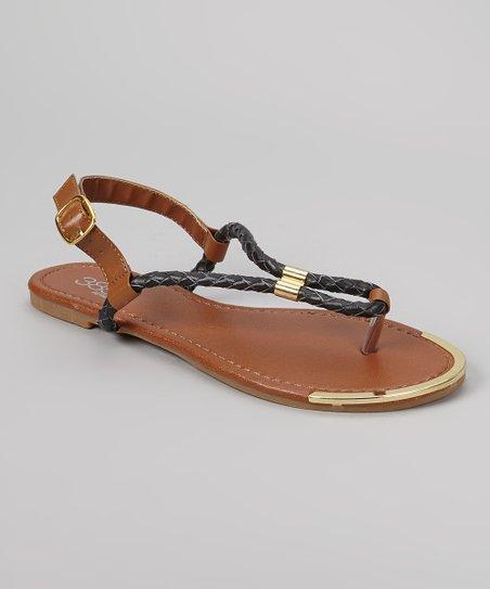 Black & Gold Rope Sandal
