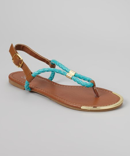 Teal & Gold Rope Sandal