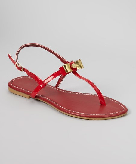 Red & Gold Bow Sandal