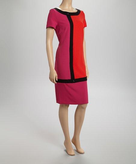 Pink & Orange Color Block Dress