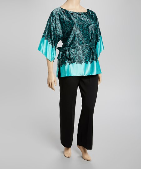 Aqua & Black Scroll Cape-Sleeve Top & Pants - Plus