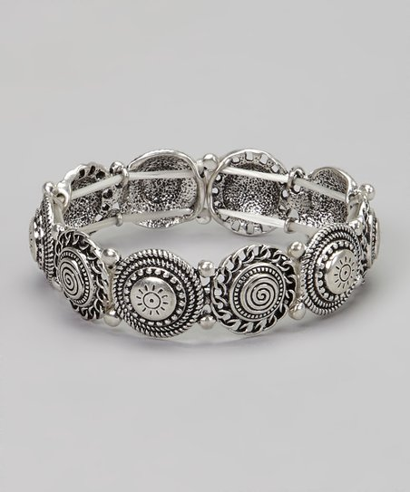 Silver Circle & Swirl Stretch Bracelet