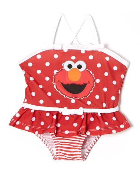 Red Polka Dot & Stripe Elmo Skirted One-Piece - Toddler