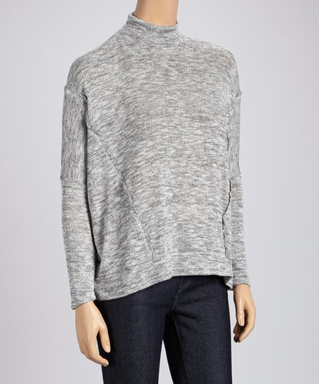 Gray French Terry Mock Neck Top