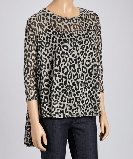 Gray Leopard Three-Quarter Sleeve Top