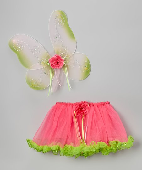 Hot Pink & Green Butterfly Princess Wings & Tutu