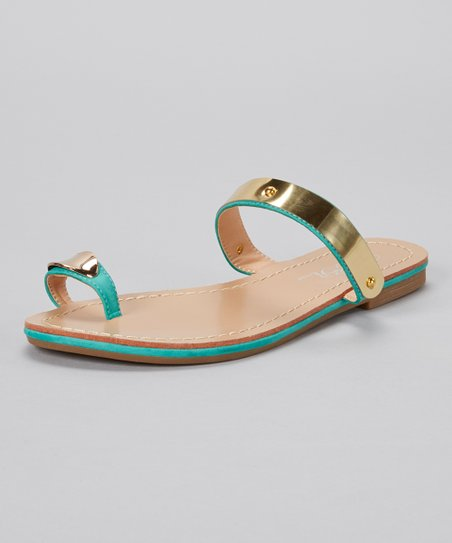 Teal & Gold Toe Ring Burgess Sandal