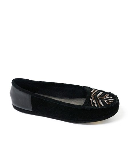 Black Beaded Freshman Suede Moccasin