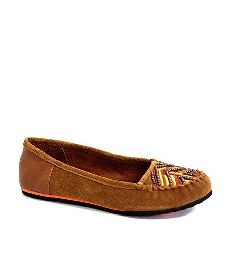 Chestnut Beaded Freshman Suede Moccasin