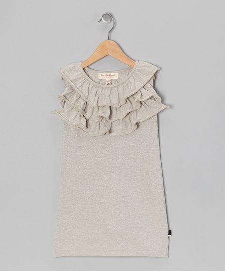 Sand &amp; Silver Lurex Milly Dress - Toddler &amp; Girls
