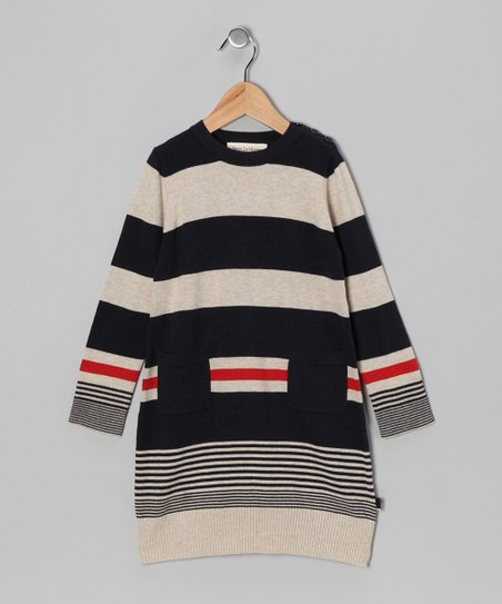 French Navy & Sand Stripe Marine Dress - Toddler & Girls