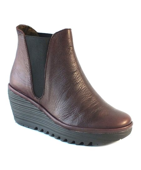Bordeaux Matte Leather Yoss Wedge Bootie