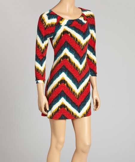 Red & White Zigzag Button Dress