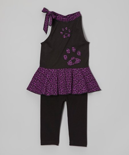 Purple & Black Leopard Tunic & Leggings - Toddler & Girls