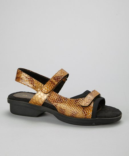 Gold Snake Carmel Leather Sandal