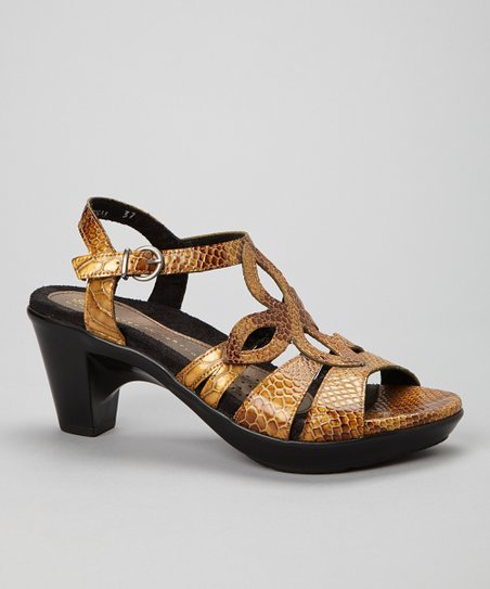 Gold Snake Tulip Leather Sandal