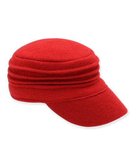 Red Accordion Pleat Cadet Cap
