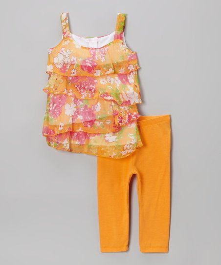 Orange Heart & Stripe Tunic & Leggings - Toddler & Girls