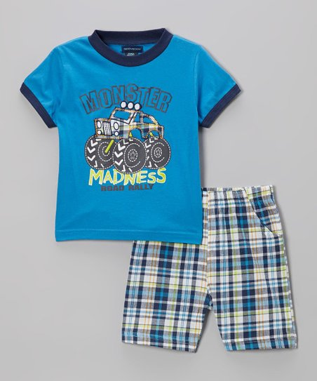 Blue Plaid 'Madness' Tee & Shorts - Infant, Toddler & Boys