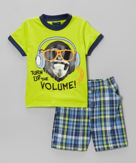 Lime Plaid 'Turn Up the Volume!' Tee & Shorts - Toddler
