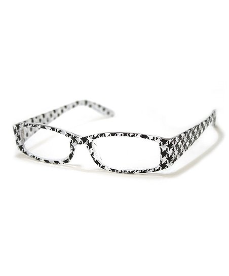 Black & White Herringbone Festive Reading Glasses