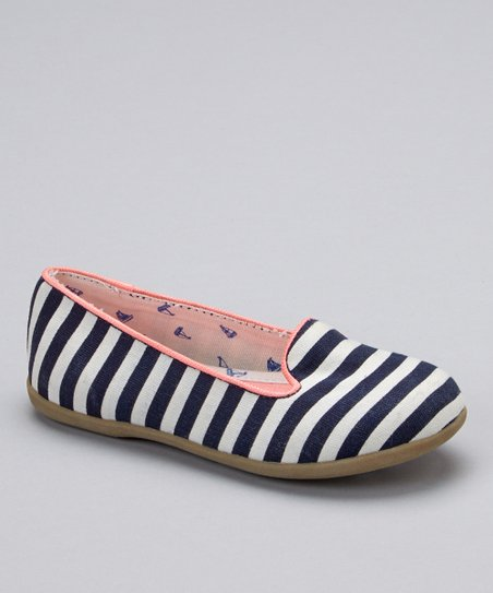 Navy & White Stripe Eva Flat